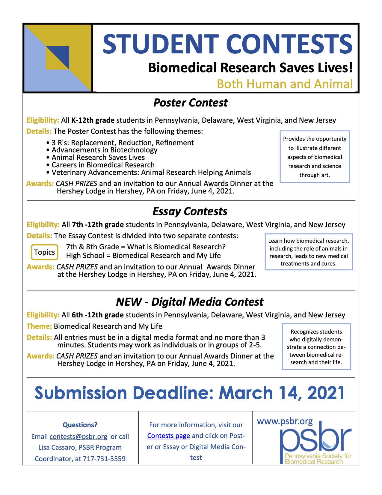 """""""Biomedical Research Saves Lives""""  2021 PSBR Poster Contest"""